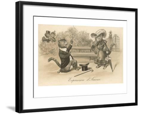 Victorian Cat Proposing, Expression d'Amour--Framed Art Print