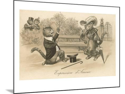 Victorian Cat Proposing, Expression d'Amour--Mounted Art Print