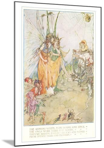 Fairies Spinning Spiderwebs--Mounted Art Print