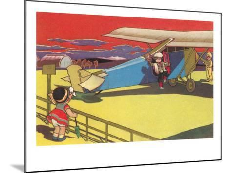 Children's Good-Bye At Airport--Mounted Art Print