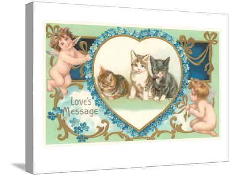 Victorian Kittens and Cupids, Love's Message--Stretched Canvas Print