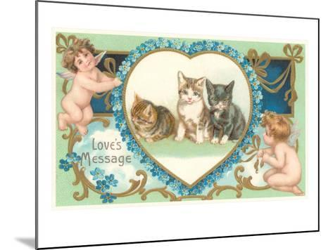 Victorian Kittens and Cupids, Love's Message--Mounted Art Print