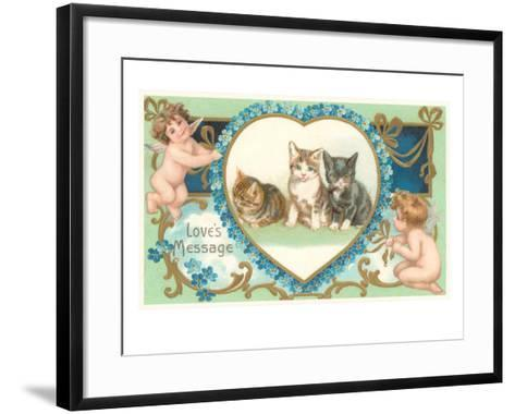 Victorian Kittens and Cupids, Love's Message--Framed Art Print