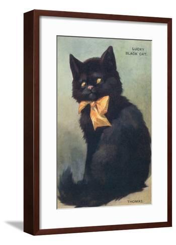 Lucky Black Cat with Bow--Framed Art Print