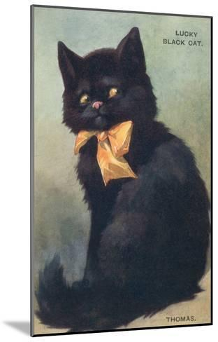 Lucky Black Cat with Bow--Mounted Art Print