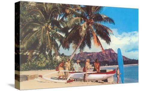 Outrigger on Waikiki Beach, Hawaii--Stretched Canvas Print