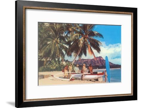 Outrigger on Waikiki Beach, Hawaii--Framed Art Print