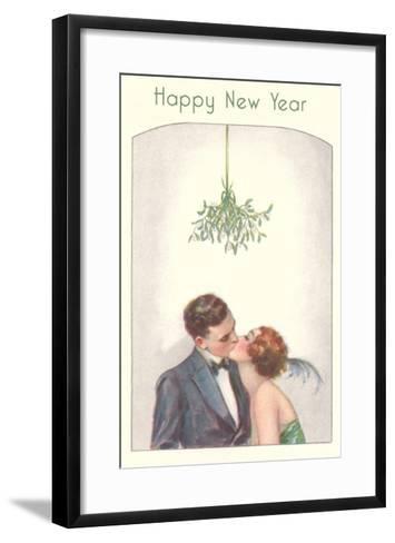 Happy New Year, Couple Kissing Under Mistletoe--Framed Art Print