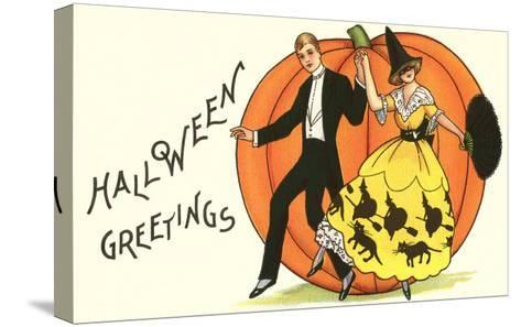 Old-Fashioned Halloween Couple Dancing--Stretched Canvas Print