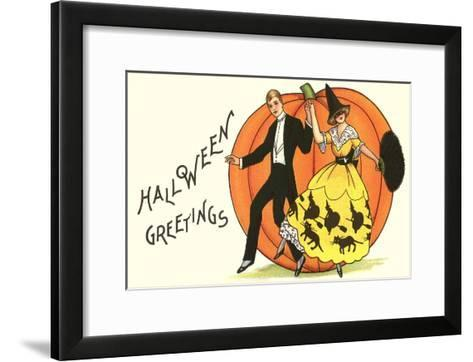 Old-Fashioned Halloween Couple Dancing--Framed Art Print