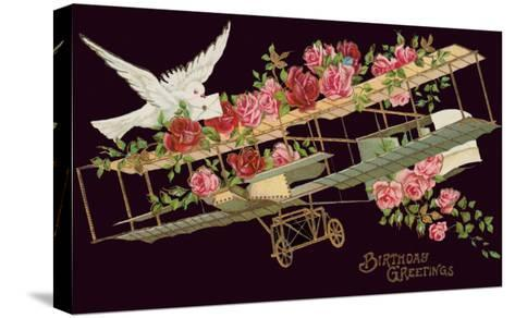 Happy Birthday, Vintage Airplane with Roses--Stretched Canvas Print
