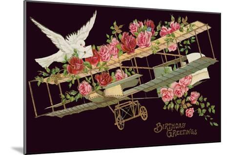 Happy Birthday, Vintage Airplane with Roses--Mounted Art Print