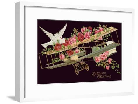Happy Birthday, Vintage Airplane with Roses--Framed Art Print