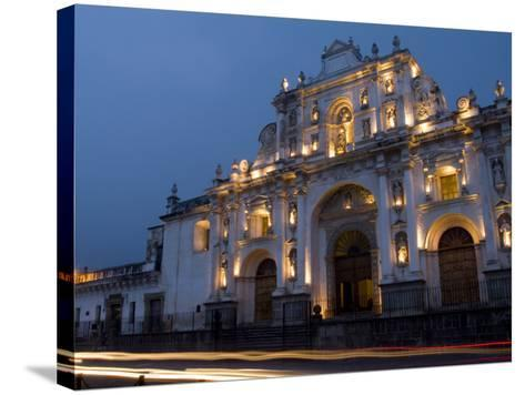 Cathedral in Square, Antigua, Guatemala-Bill Bachmann-Stretched Canvas Print