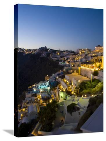 White Buildings at Night, Fira, Santorini, Greece-Bill Bachmann-Stretched Canvas Print