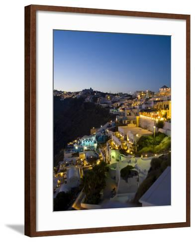 White Buildings at Night, Fira, Santorini, Greece-Bill Bachmann-Framed Art Print
