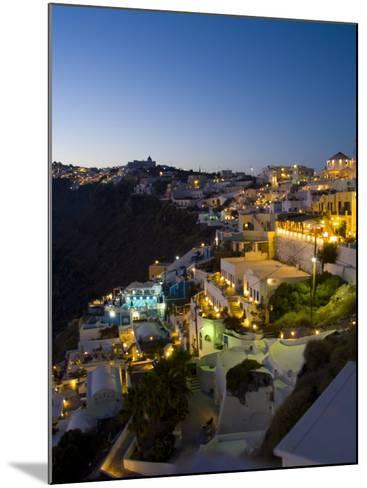 White Buildings at Night, Fira, Santorini, Greece-Bill Bachmann-Mounted Photographic Print