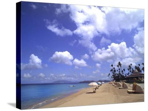 Beach Chairs and Palms, Pinneys Beach, Nevis, Caribbean-Bill Bachmann-Stretched Canvas Print