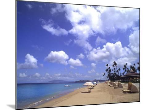 Beach Chairs and Palms, Pinneys Beach, Nevis, Caribbean-Bill Bachmann-Mounted Photographic Print