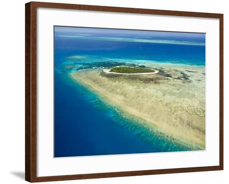 Aerial View of Green Island, The Great Barrier Reef, Cairns Area, North Coast, Queensland-Walter Bibikow-Framed Art Print