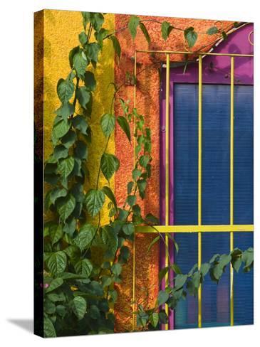Colorful Building Detail, Barra De Navidad, Jalisco, Mexico-Walter Bibikow-Stretched Canvas Print
