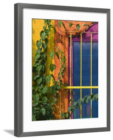 Colorful Building Detail, Barra De Navidad, Jalisco, Mexico-Walter Bibikow-Framed Art Print
