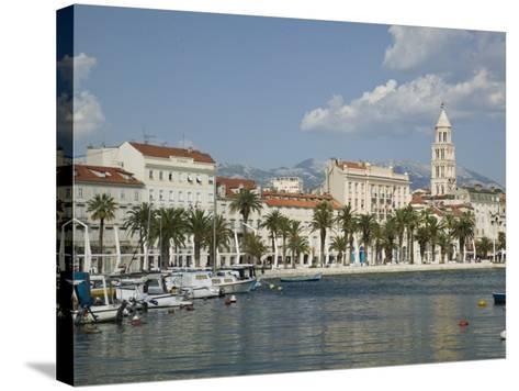 Split Harbor Late Afternoon, Central Dalmatia, Croatia-Walter Bibikow-Stretched Canvas Print