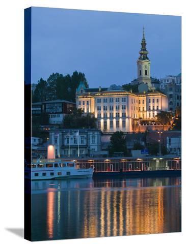 Danube River Barge and Stari Grad, Sava River, Belgrade, Serbia-Walter Bibikow-Stretched Canvas Print