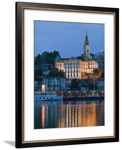 Danube River Barge and Stari Grad, Sava River, Belgrade, Serbia-Walter Bibikow-Framed Art Print