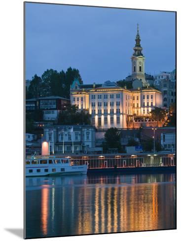 Danube River Barge and Stari Grad, Sava River, Belgrade, Serbia-Walter Bibikow-Mounted Photographic Print