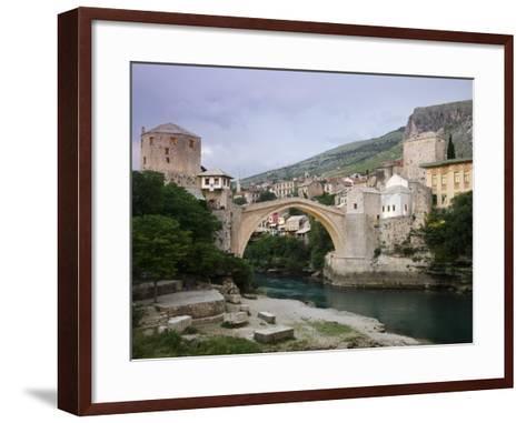 The Old Bridge Stari Most, Mostar, Bosnia-Hercegovia-Walter Bibikow-Framed Art Print