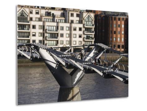 Millenium Bridge, London, England-Walter Bibikow-Metal Print