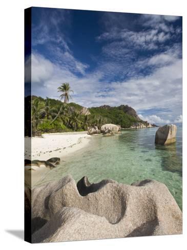 Anse Source D'Argent Beach, L'Union Estate Plantation, La Digue Island, Seychelles-Walter Bibikow-Stretched Canvas Print