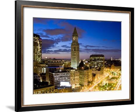 Atlantic Avenue Greenway and Customs House, Boston, Massachusetts, USA-Walter Bibikow-Framed Art Print