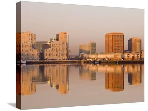 Fish Pier and South Boston from Logan Airport, Boston, Massachusetts, USA-Walter Bibikow-Stretched Canvas Print