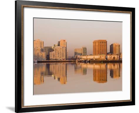 Fish Pier and South Boston from Logan Airport, Boston, Massachusetts, USA-Walter Bibikow-Framed Art Print