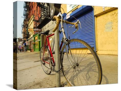 Bike Chained Up, Philadelphia, Pennsylvania, USA-Ellen Clark-Stretched Canvas Print