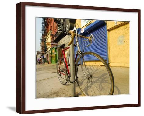 Bike Chained Up, Philadelphia, Pennsylvania, USA-Ellen Clark-Framed Art Print