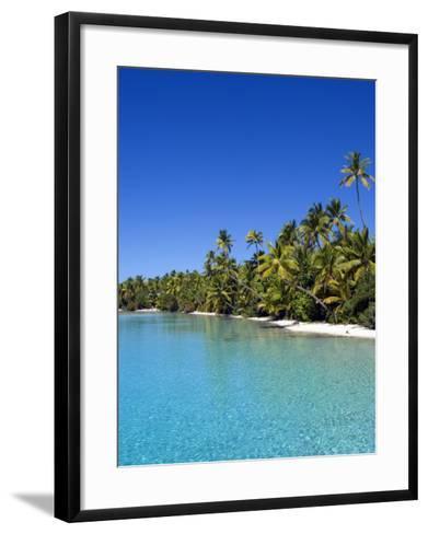 Palm Lined Beach, Cook Islands-Michael DeFreitas-Framed Art Print