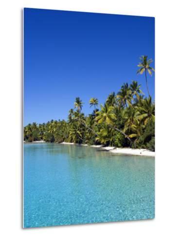 Palm Lined Beach, Cook Islands-Michael DeFreitas-Metal Print