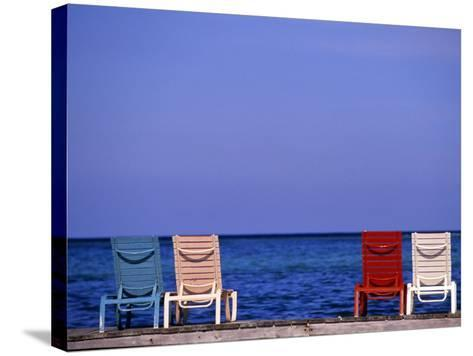 Deck Chairs, Ambergris Caye, Belize-Michael DeFreitas-Stretched Canvas Print