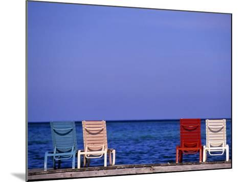 Deck Chairs, Ambergris Caye, Belize-Michael DeFreitas-Mounted Photographic Print