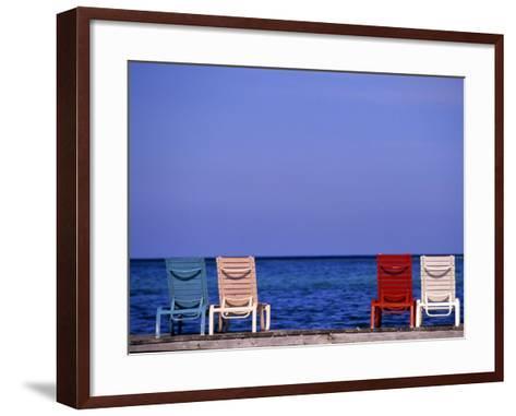 Deck Chairs, Ambergris Caye, Belize-Michael DeFreitas-Framed Art Print