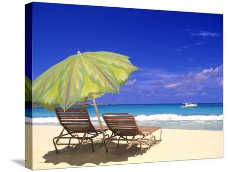 Beach Umbrella, Abaco, Bamahas-Michael DeFreitas-Stretched Canvas Print