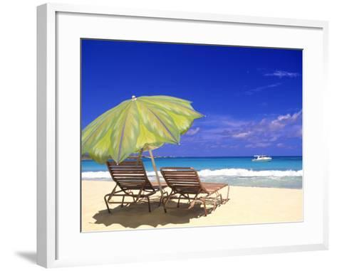 Beach Umbrella, Abaco, Bamahas-Michael DeFreitas-Framed Art Print