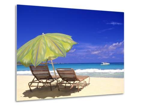 Beach Umbrella, Abaco, Bamahas-Michael DeFreitas-Metal Print