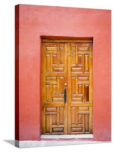 Carved Wooden Door, San Miguel, Guanajuato State, Mexico-Julie Eggers-Stretched Canvas Print