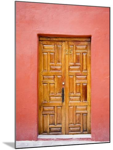 Carved Wooden Door, San Miguel, Guanajuato State, Mexico-Julie Eggers-Mounted Photographic Print