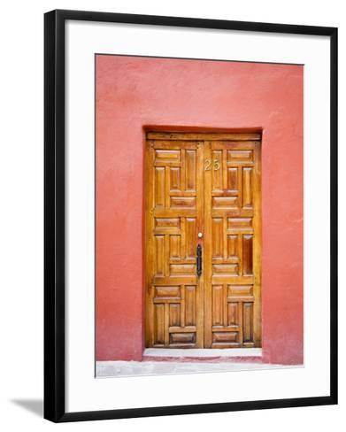Carved Wooden Door, San Miguel, Guanajuato State, Mexico-Julie Eggers-Framed Art Print