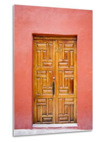 Carved Wooden Door, San Miguel, Guanajuato State, Mexico-Julie Eggers-Metal Print